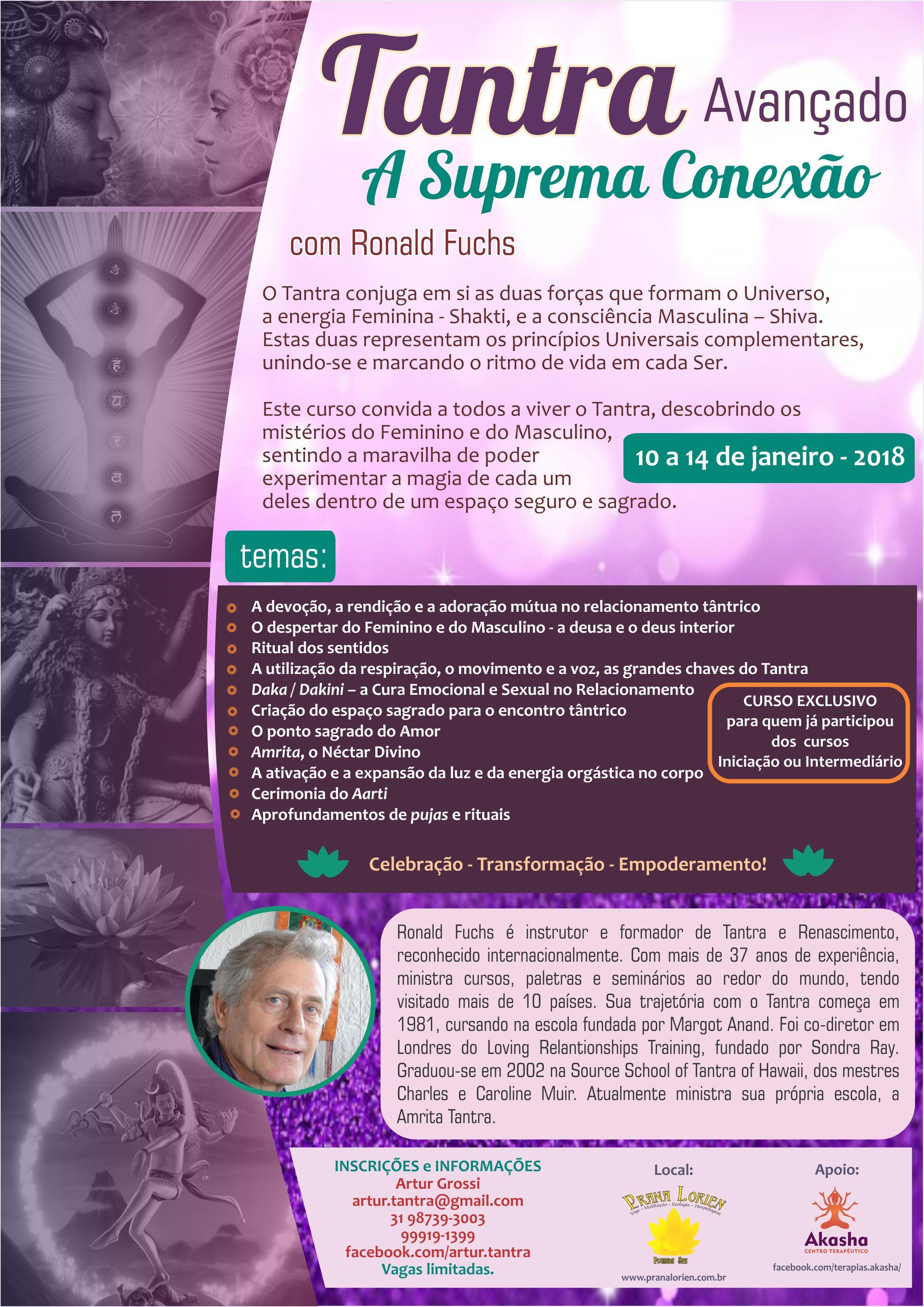 Tantra Avançado 10 ao 14 de Janeiro em Belo Horizonte (Brasil)