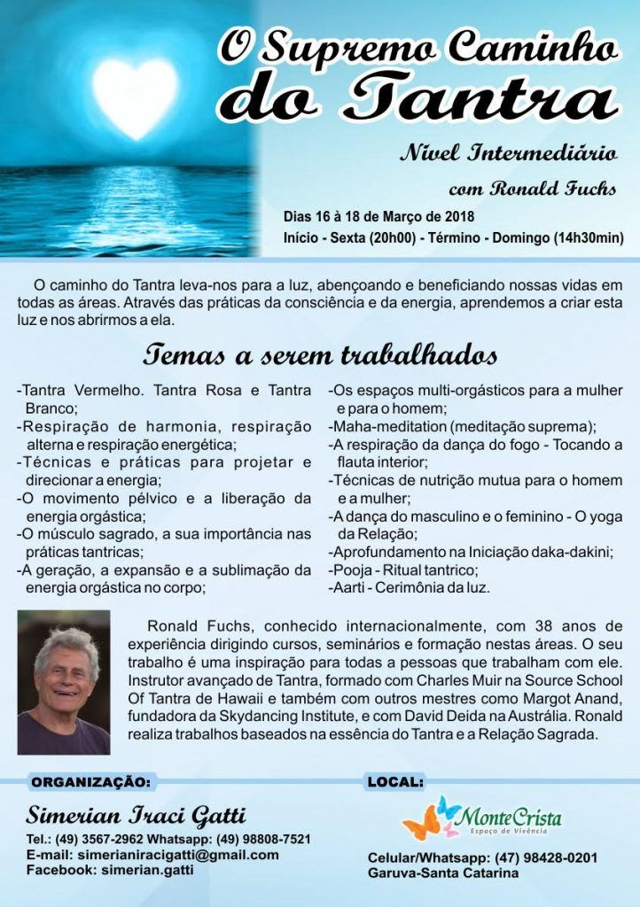 Curso de Tantra Intermediário 16 á 18 de Março en Garuba SC (Brasil)
