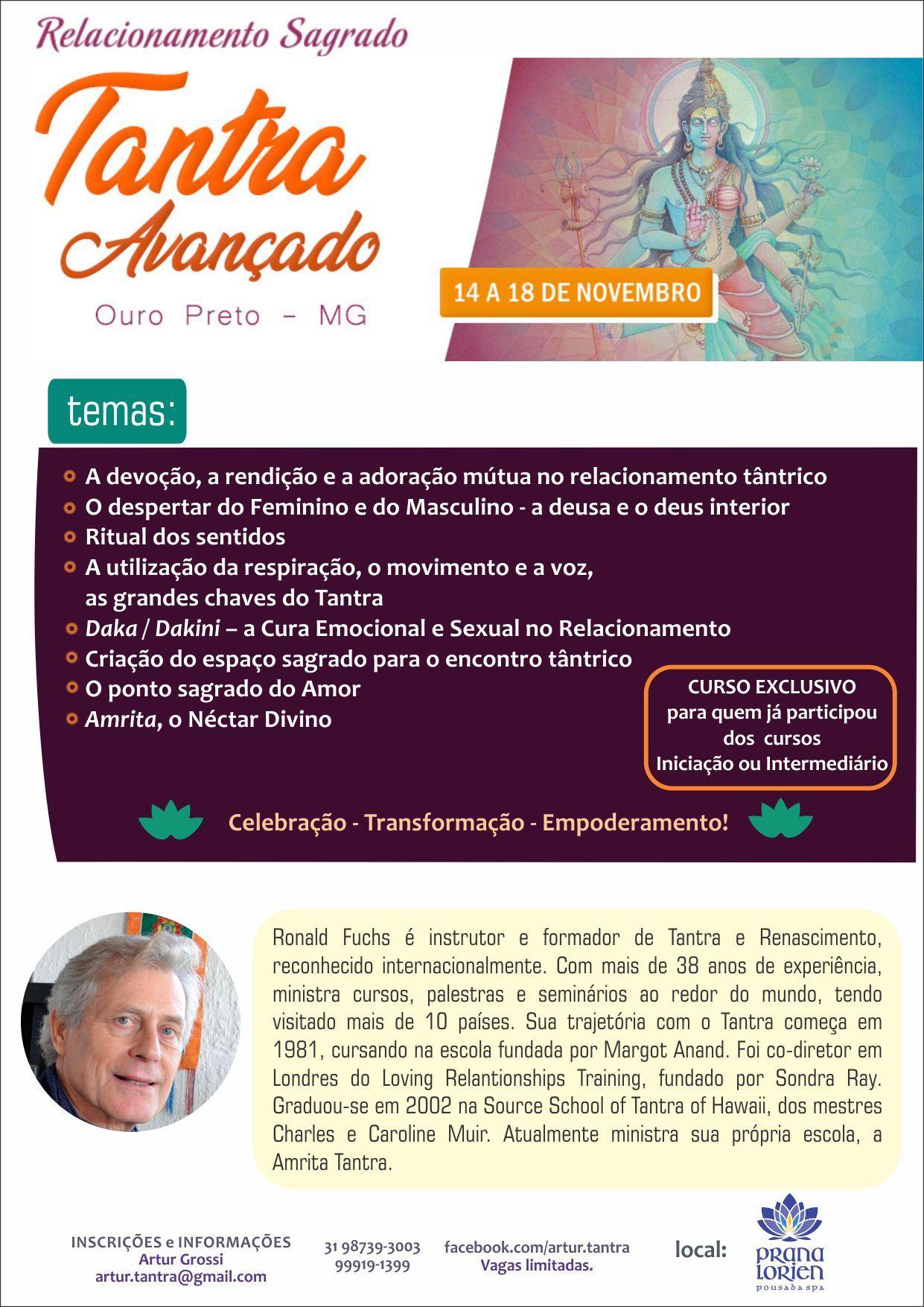 Tantra Avançado 14 a 18 de Novembro Belo Horizonte (Brasil)