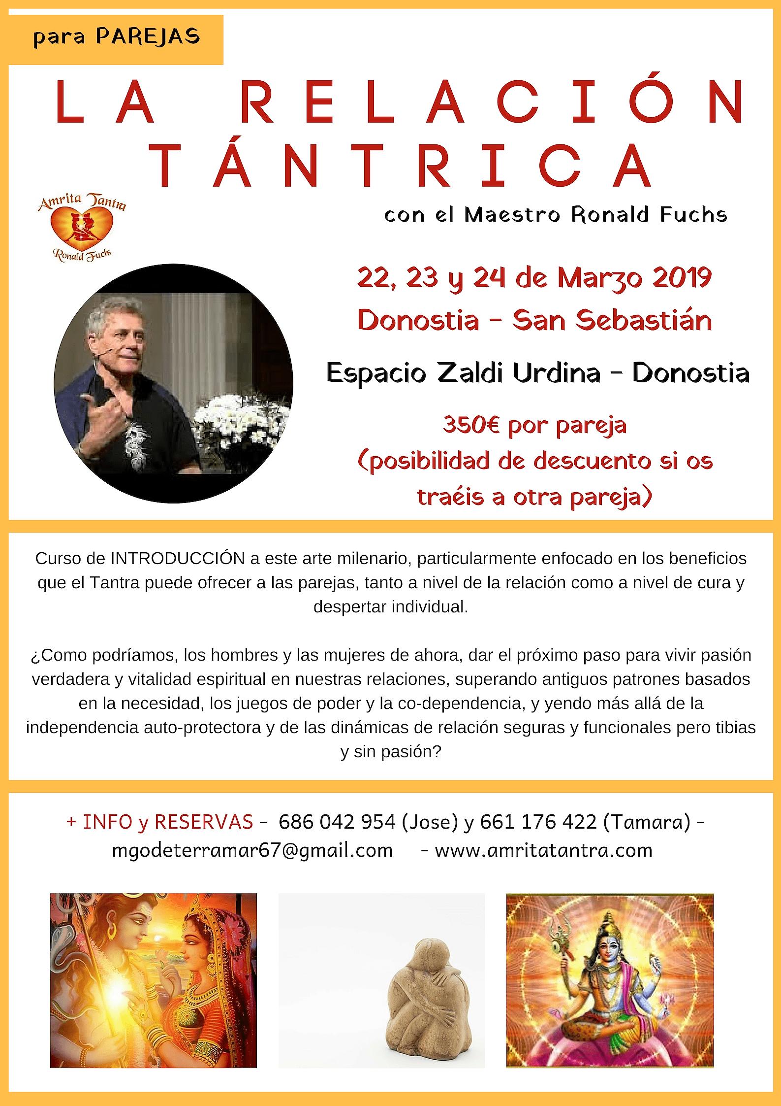 Curso de Tantra para Parejas del 22 al 24 de Marzo en San Sebastián