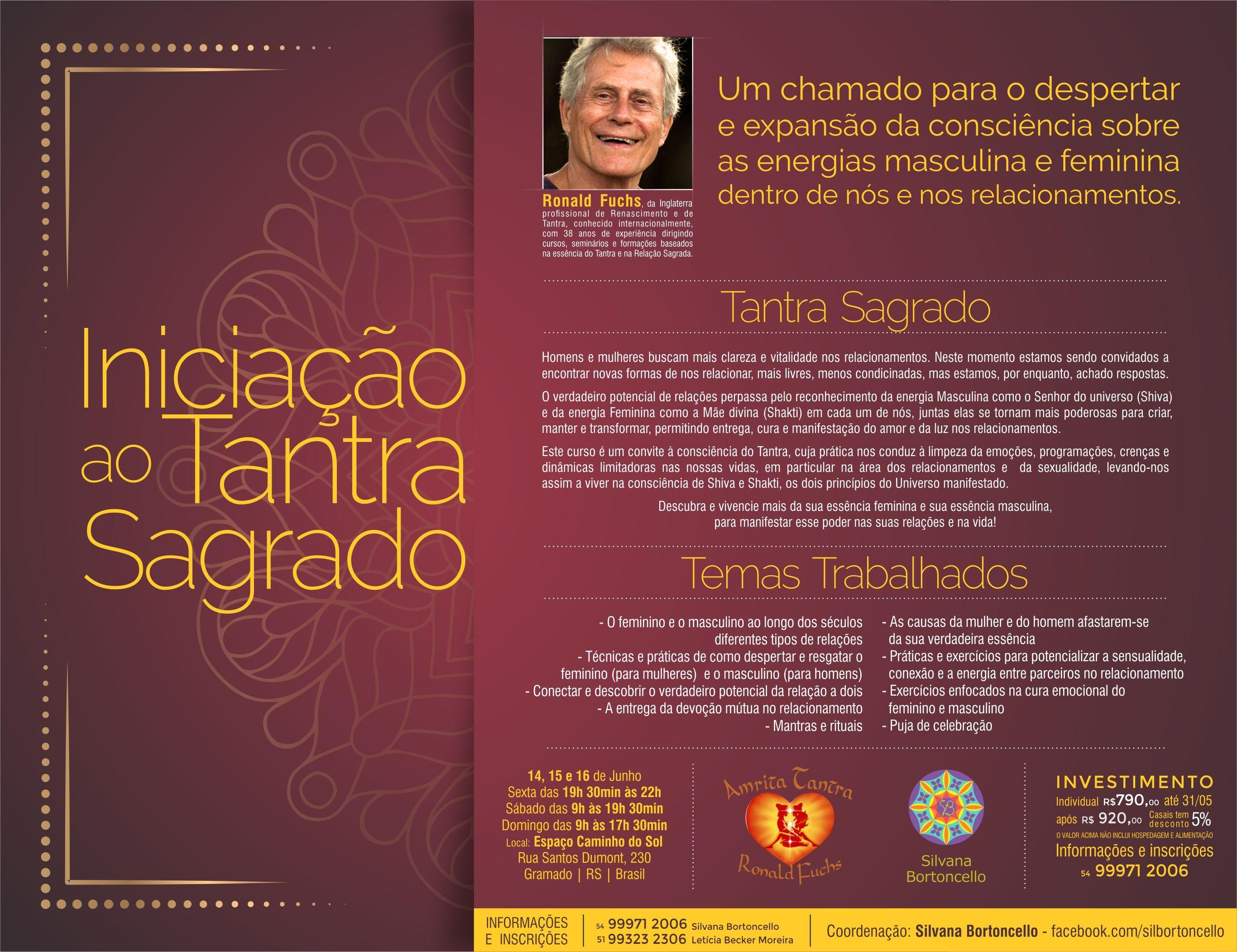 Iniciação ao Tantra 14, 15 e 16 de Junho Gramado RS (Brasil)